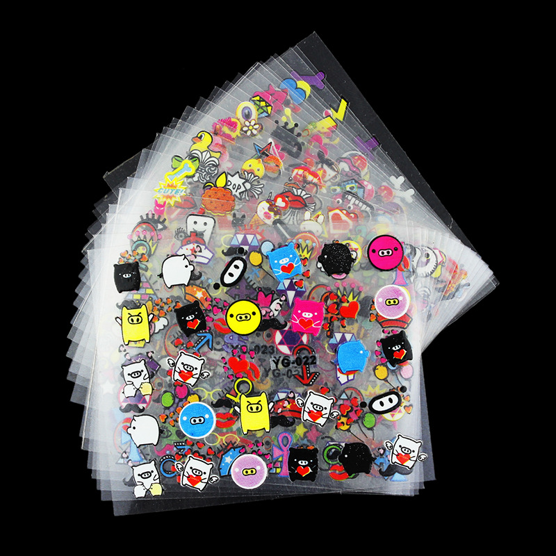 24 Sheets/Pack 3D Cartoon Nail Sticker Cute Animals Adhesive DIY Colorful Beauty Foils Nail Art Manicure Polish Gel Decor 2019