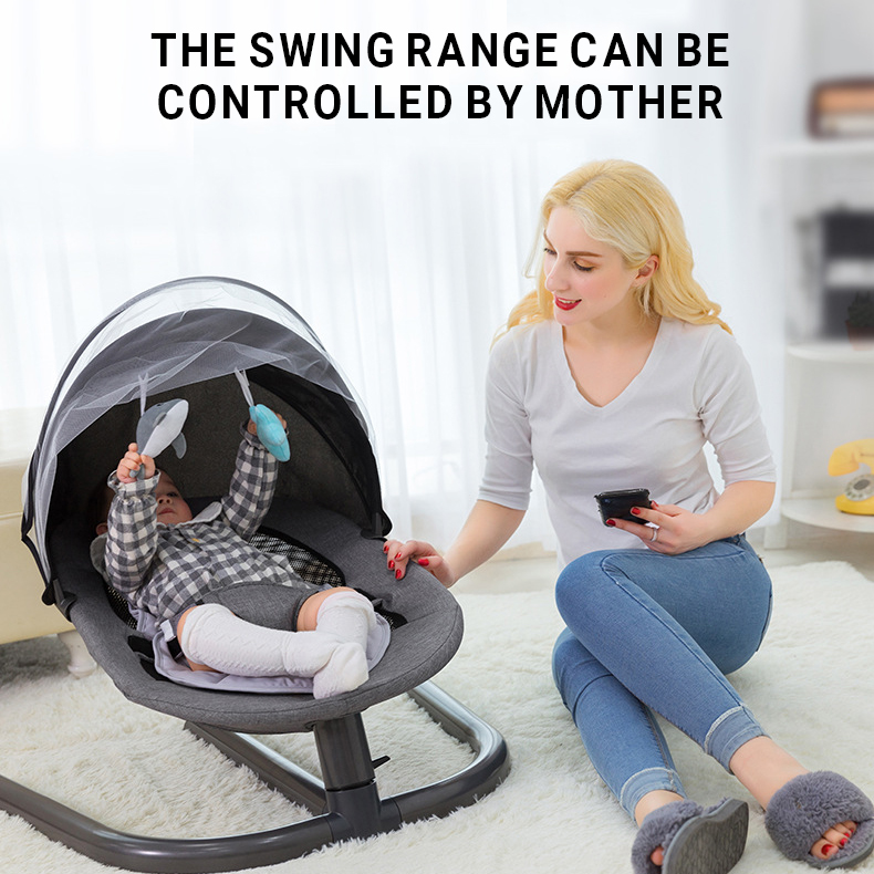 H44464df1e6a44256936704cfc5e5f0a3C Newborn Baby Rocking Chair Baby Bed Swing Soothing Music Chair Non-electric Manual Swing Shaker Infant Cradle