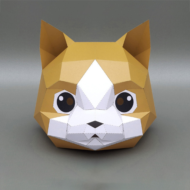 3D Paper Mask Fashion Animal and Game Role-Playing Costume DIY Handmade Paper Model Mask Christmas Halloween Party Gift 3