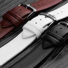 Watchbands Genuine Leather Watch Band straps 12mm 14mm 16mm 18mm 20mm 22mm Watch accessories Women Men Brown Black Belt band стоимость