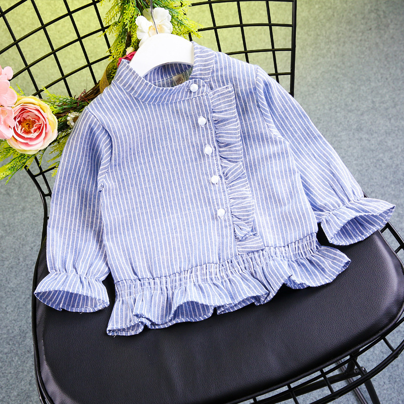 Childrenswear 2018 Girls Spring Clothing Tree Fungus-like Lacework Pearl Clasp Stand Collar Tops Children Long-sleeved Shirt