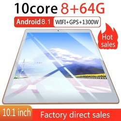 KT107 البلاستيك اللوحي 10.1 بوصة HD شاشة كبيرة أندرويد 8.10 نسخة الموضة المحمولة اللوحي 8G + 64G الأبيض اللوحي الأبيض الولايات المتحدة التوصيل