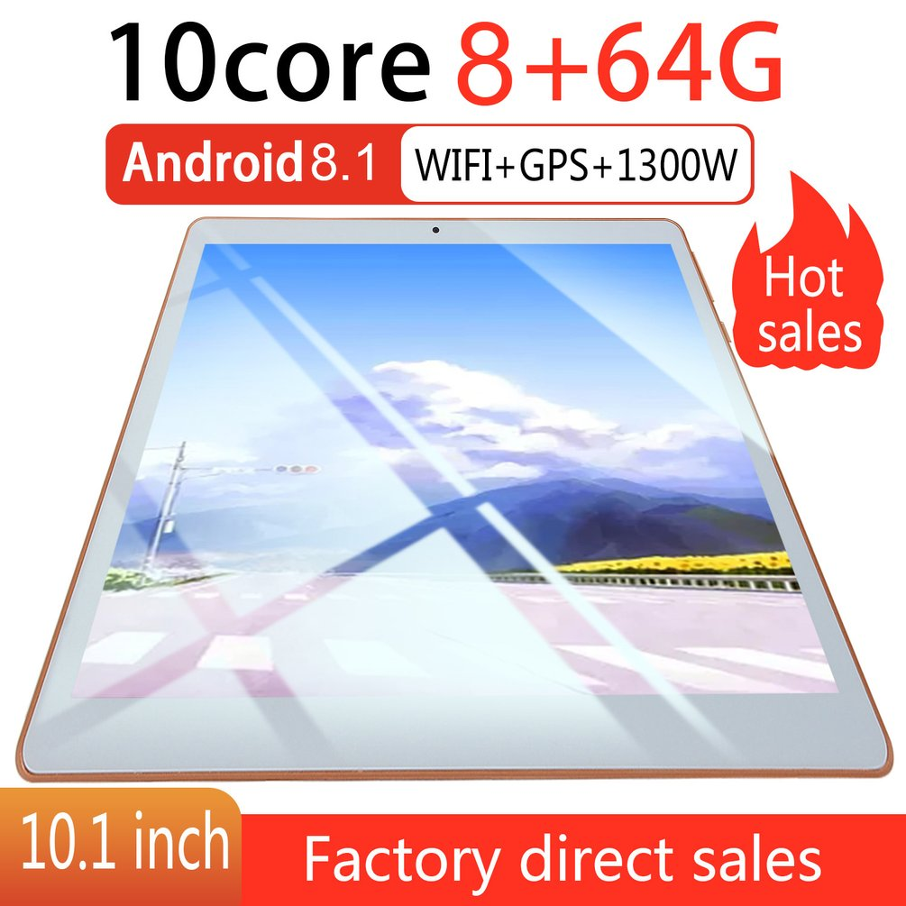 KT107 Plastik Tablet 10.1 Inci HD Layar Besar Android Versi 8.10 Fashion Portable Tablet 8G + 64G Putih tablet Putih US Plug title=