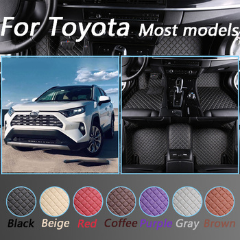 Luxurious Leather Car Floor Mats For Toyota Corolla Camry Rav4 Auris Prius Yalis Avensis Alphard 4Runner Non-slip Foot Mats image