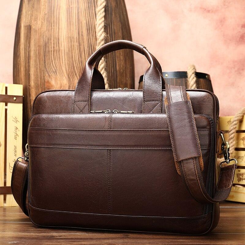 Luufan Man's Genuine Leather Laptop Bags Male Tote Briefcase Handbag Men's Leather Bag Men's Briefcase Office Bags For Men Bag