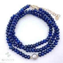 2x4mm Blue Chalcedony Grey Baroque Pearl Necklace 18 inches Flawless Women Chic Classic Hang Jewelry Cultured Diy Chain(China)