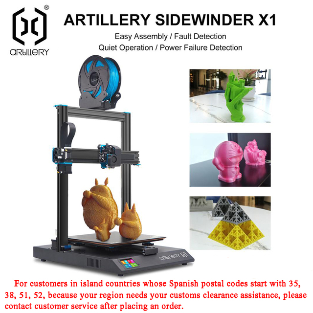 Artillery 3D Printer Kit Sidewinder X1 SW-X1 High Precision Large Plus Size 300*300*400mm Dual Z Axis TFT Touch Screen 1
