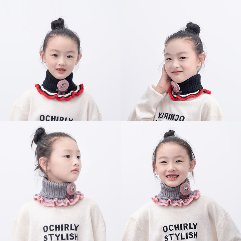 19 New Style Children Bandana Korean-style Autumn And Winter Stripes Warm CHILDREN'S Cartoon Scarf Hot Selling A Generation Of F