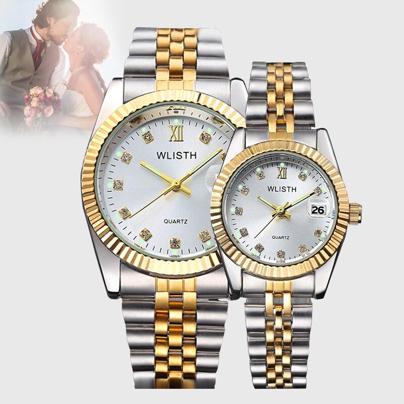 Top Brand Couple Watch Men's Women's All Steel Waterproof Calendar Quartz Gold Watch Fashion Gear Gold Case Business Lover Watch