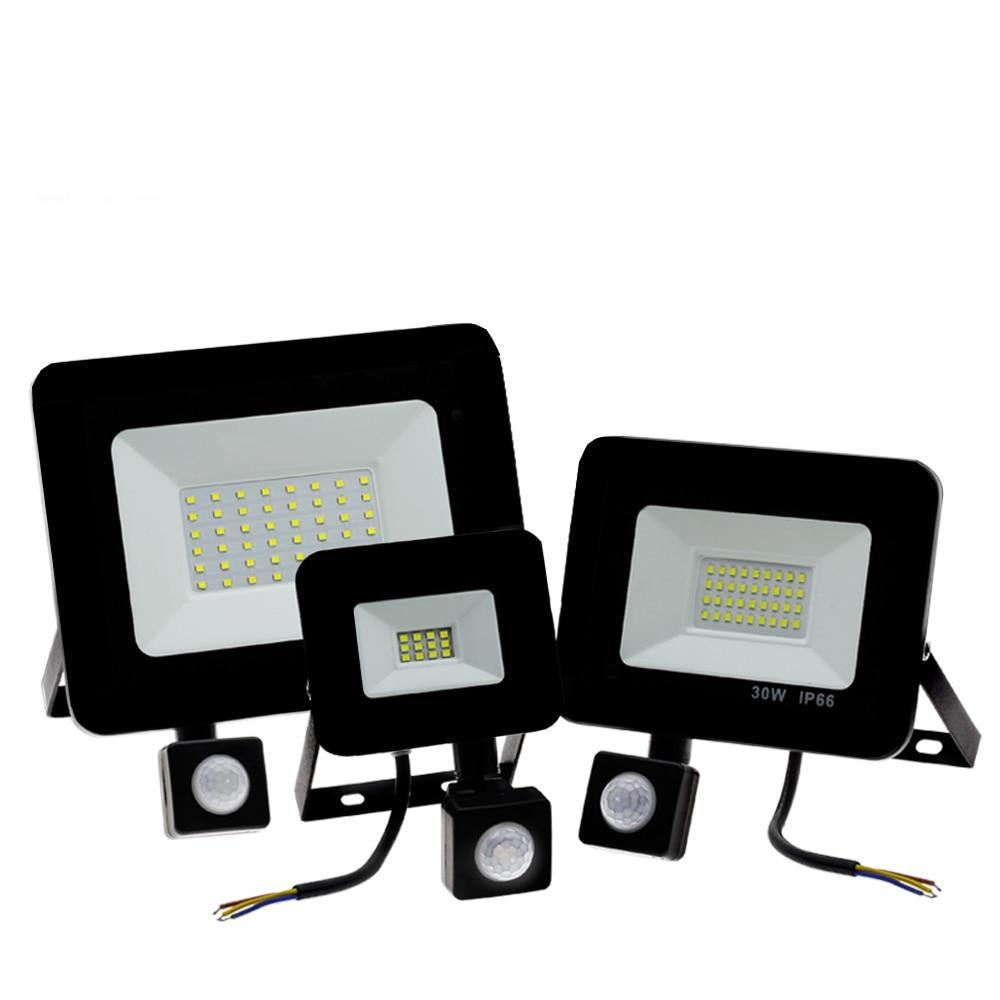 สวนค้นหาโคมไฟ LED น้ำท่วมกลางแจ้งโปรเจคเตอร์ภูมิทัศน์ PIR Motion Sensor Light AC220 10W 20W 30W 50W 100 W 150 W 200 W