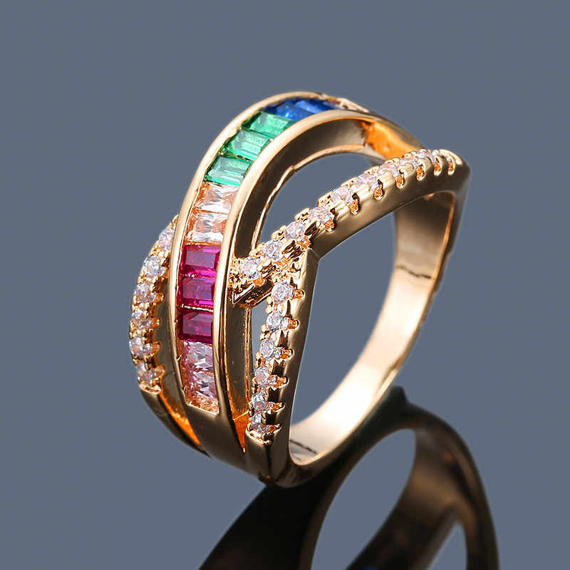 ผู้หญิง Minimalist Rainbow Zircon แหวนแฟชั่นเงินสีเหลืองทองสีแหวนคลาสสิกสีขาวหินแหวนสำหรับผู้หญิง