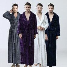 Прямая с фабрики, мужской удлиненный зимний халат в сетку, мужское роскошное кимоно, фланелевый банный халат, мужской свободный мягкий ночной халат