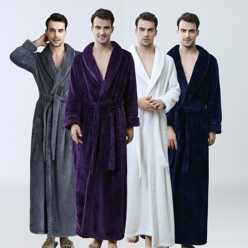 Factory Direct Men Extra Long Winter Grid Bathrobe Male Luxury Kimono Flannel Bath Robe Mens Loose Soft Night Dressing Gown