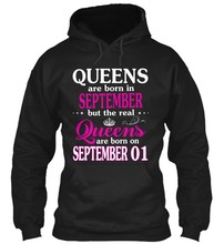 Real Queen are born on 1 September Streetwear men women Hoodies Sweatshirts(China)