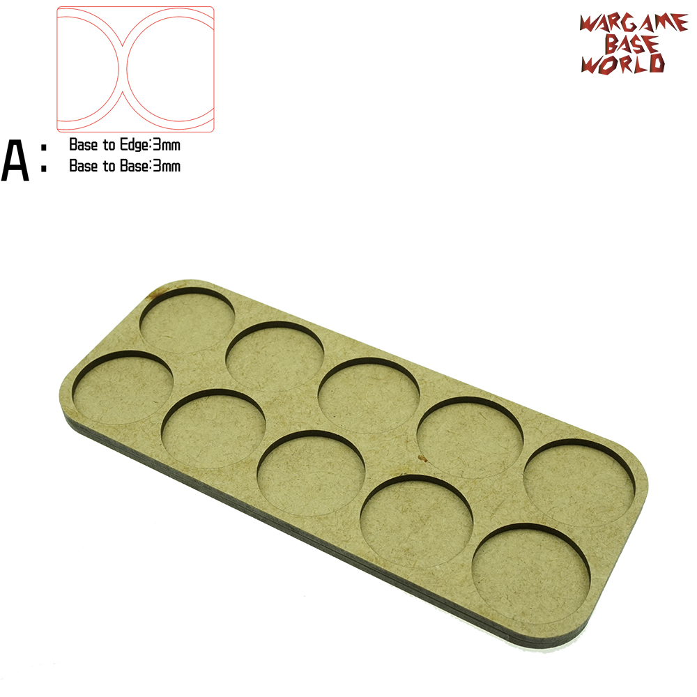 Wargame Base World - Movement Tray - 10 Bases 32mm Round - Double Beeline Shape MDF