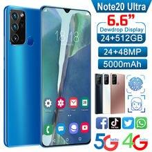 2021 gorąca sprzedaż Note20Ultra 6.6 Cal pełny wyświetlacz smartfony z systemem Android 10-rdzeń 12GB + 512GB 5G niech MTK6889 telefon komórkowy z Dual SIM