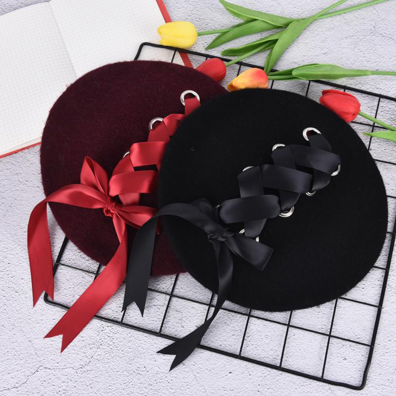 Bandage Elegant Bow Beret Beanie Harajuku Cute Sweet Round French Straps Black Fshionable Winter Warm Daily Casual Hat