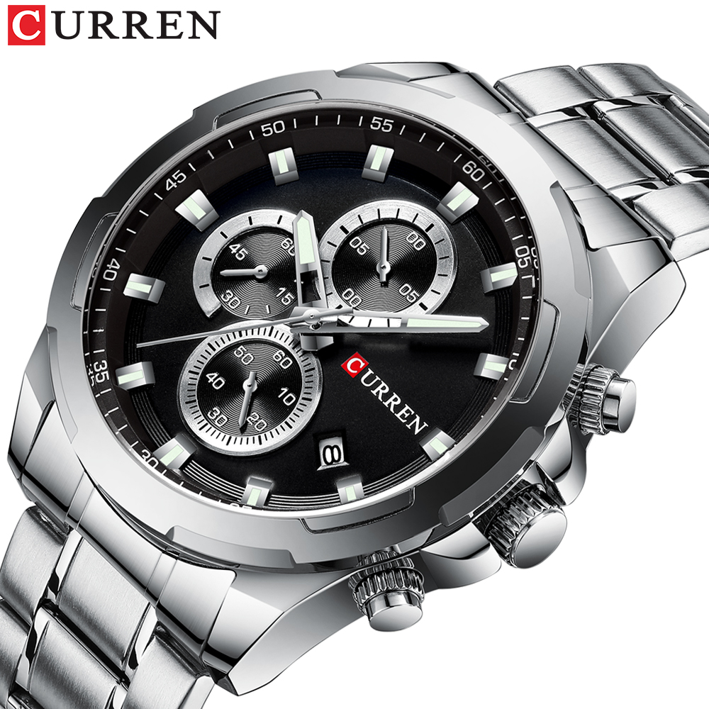 Top Brand CURREN Watches Men Sport Wristwatch Fashion Business Analog Quartz Watch Male Clock Chronograph Stainless Steel  Watch