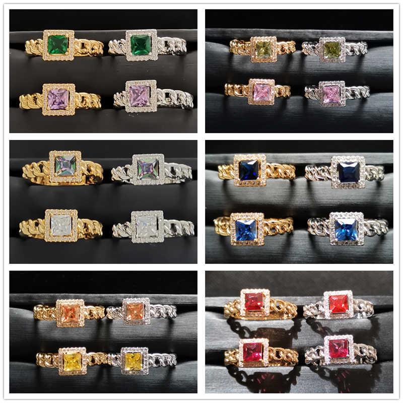 Lingmei חדש אופנה חתונת טבעות אירוסין נסיכה גזור זירקון נשים תכשיטי כסף 925 טבעת צהוב זהב צבע טבעת גודל 6 -9