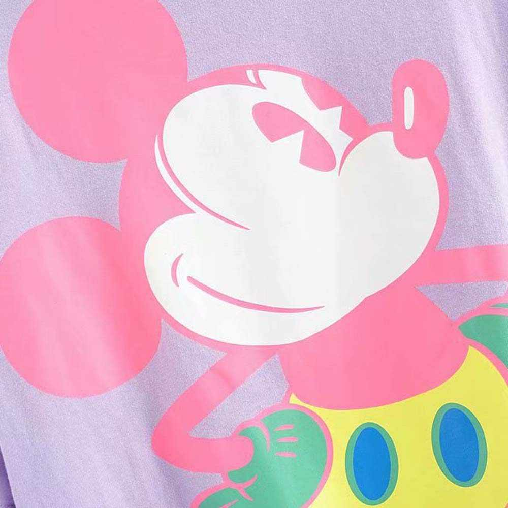 Disney chic moda fluorescência mickey mouse, impressão dos desenhos animados feminina camiseta gola redonda pulôver manga curta algodão camisetas 3 cores