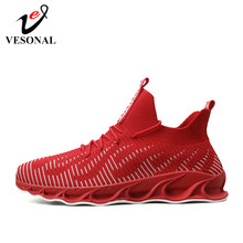 VESONAL 2020 Spring New Lightweigh High Top Hip Hop Sneakers Men Shoes Casual Breathable Male Shoes Footwear street hightop Red(China)