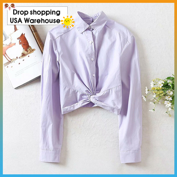 OUSHANG Fashion Brief Violet Womens Blouses Lapel Collar Single Breasted Bowknot Long Sleeve Cropped Spring Summer