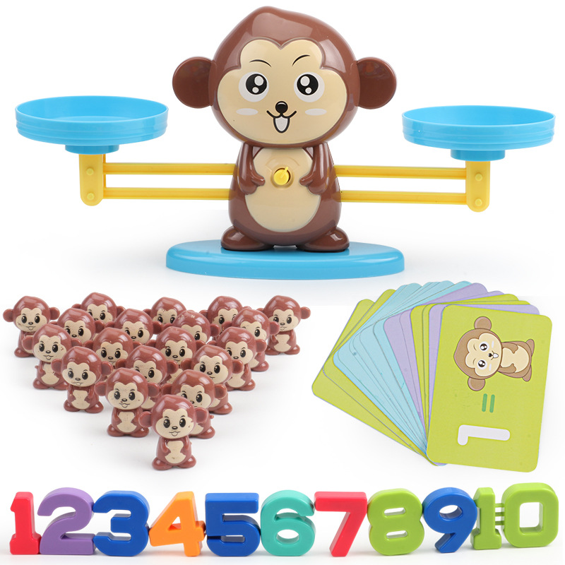 Macaco balança de equilíbrio digital brinquedo aprendizagem precoce equilíbrio crianças iluminação digital adição e subtração matemática escalas brinquedos