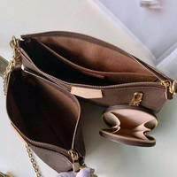 2019 Most popular Multi Pochette Accessories Handbag Monogram canvas builds a three in one vibrant design Crossbody bag