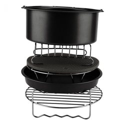 6Pcs Durable Baking Basket Pizza Plate Air Fryer Accessories For Cooking Kitchen-Black