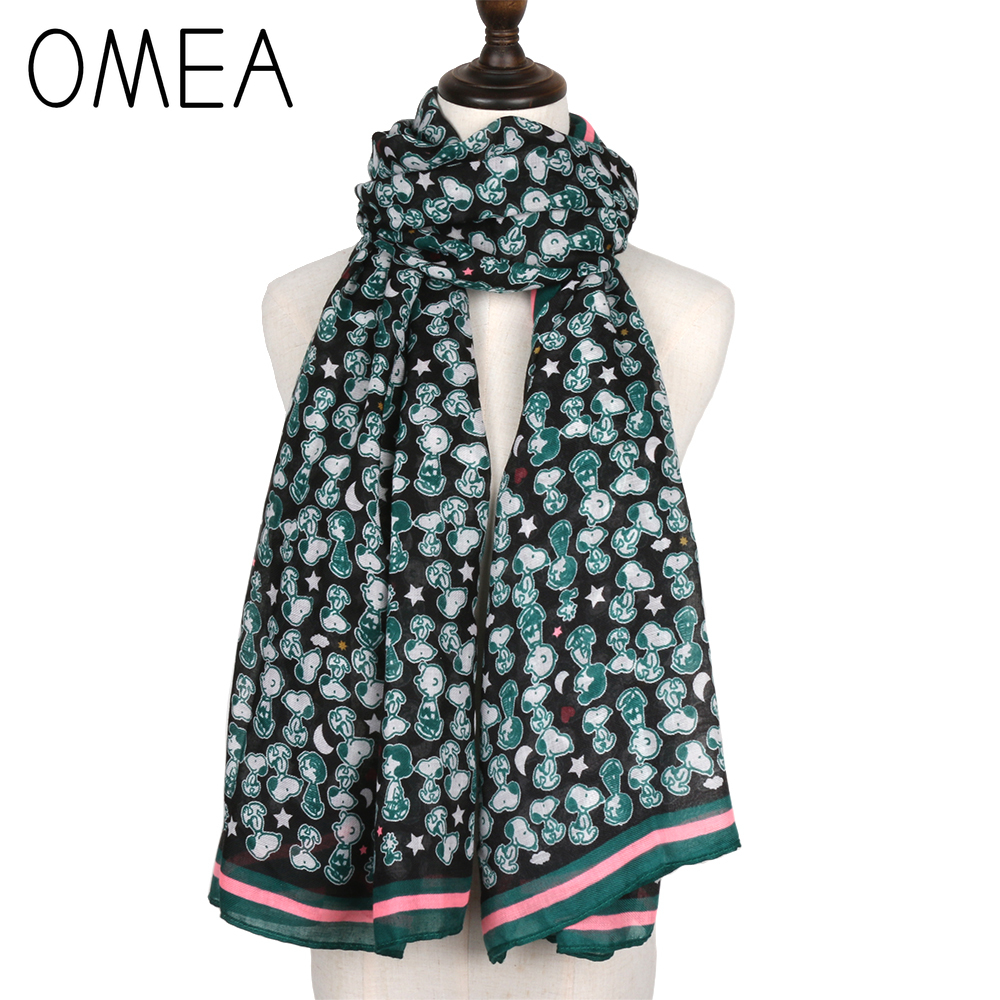 OMEA Green Cartoon Dog Silk Scarf Women Peanuts Shawl Wrap Winter Accessories Autumn Female Pashmina Animal Print Hijab Chiffon