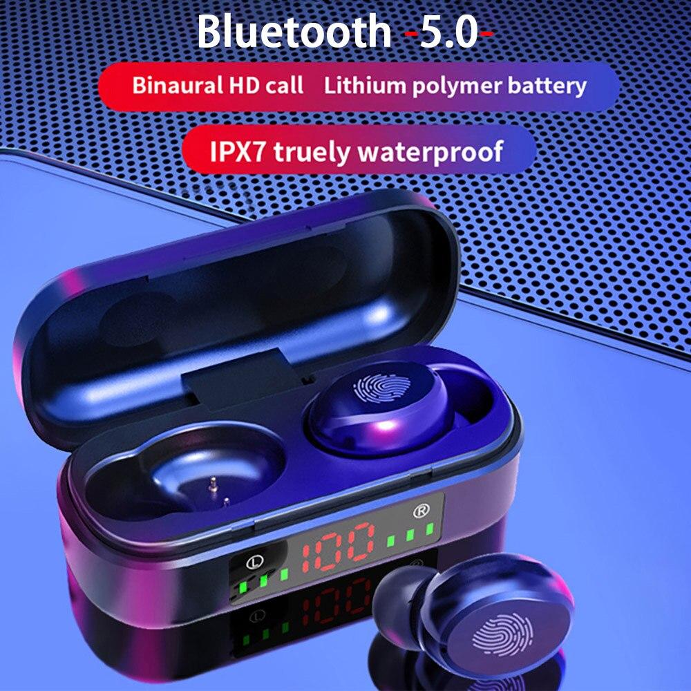 V8 наушники-вкладыши TWS с Беспроводной наушники Bluetooth наушники 5,0 9D бас стерео Водонепроницаемый наушники Bluetooth гарнитура с микрофоном и заря...