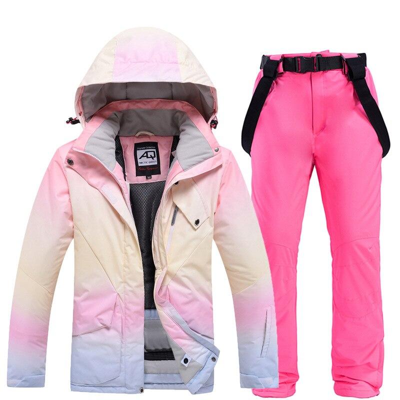 Новинка 2020, Модный женский лыжный костюм с подбором цветов, ветрозащитная водонепроницаемая куртка для сноуборда и брюки, женский костюм, к...