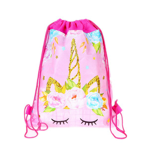 Image 4 - 1pc Cotton Unicorn Print Bag For Girls Kids Toys Soft Plush Drawstring Backpack For Children Toys Storage Bag Schoolbag For 1kg
