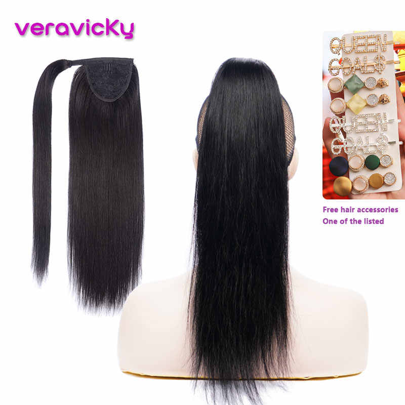 Ponytail Human Hair Clip In Hair Extensions Machine Made Remy Wrap Around Pony tail Natural Hair Black Brown Blonde 14'' to 22''