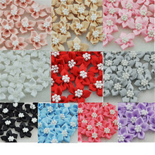 20pcs satin ribbon flowers W/pearl Appliques Craft DIY Wedding B046
