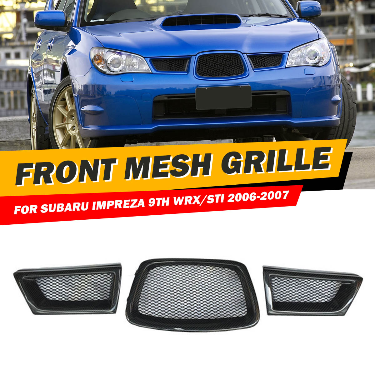 Black 3Pcs Carbon Fiber Car Front Lower Mesh Grill Grille for subaru Impreza WRX STi 9th 2006-2007 28012 grille