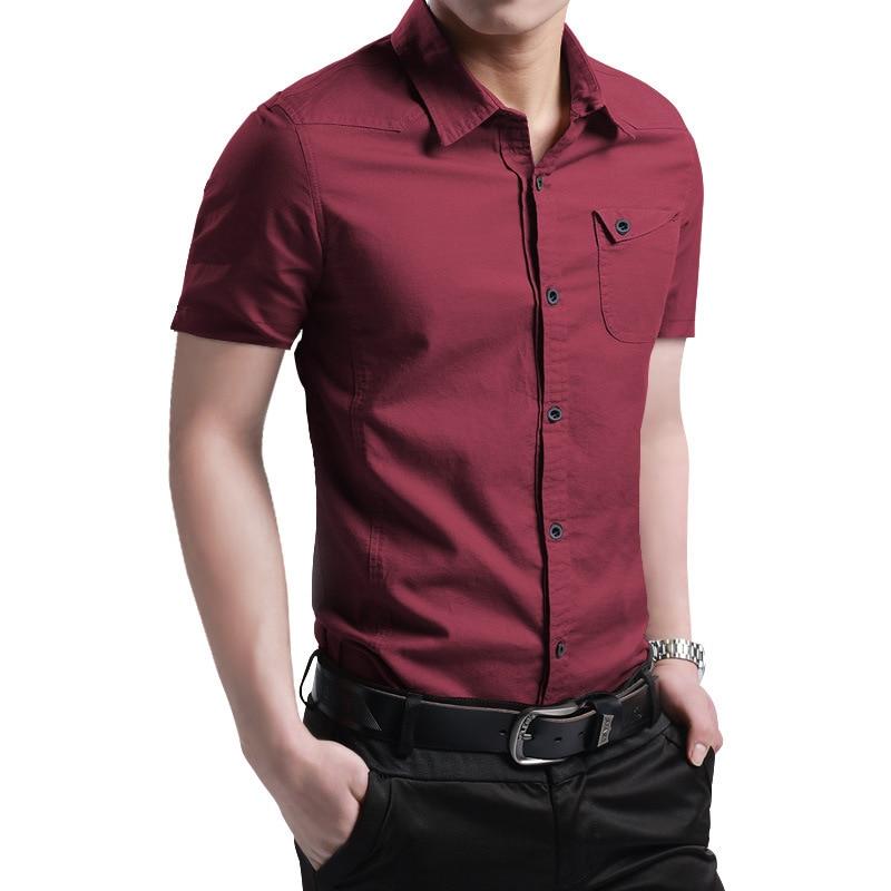 2021 New Summer 100% Cotton Shirts for Men New Breathable Military Men Shirts Short Sleeve Slim Men's Shirts Men Brand Clothing 3