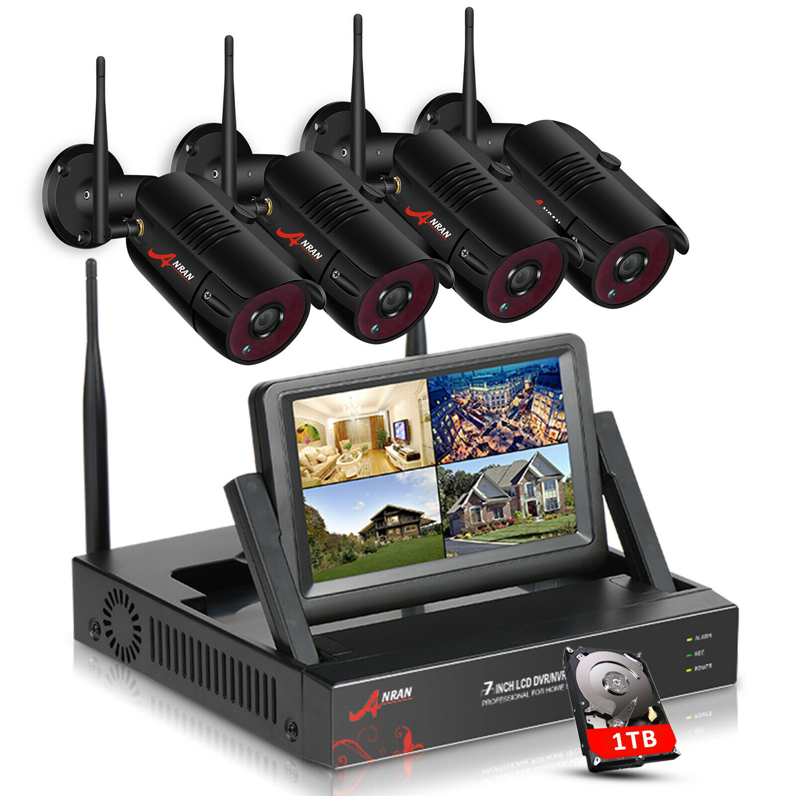 CCTV System Wireless 1080P 7 Inch Monitor NVR Security Camera System With 2MP Outdoor Wifi IP Camera Surveillance Kit
