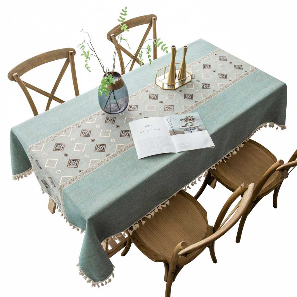 Linen Wedding Mariage Tablecloth With Tassel Household Kitchen Solid Decoration Table Cloth Thick Rectangular Table Cover Tea