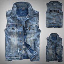 2019 Mens vest new fashion casual denim jacket sleeveless top Y813