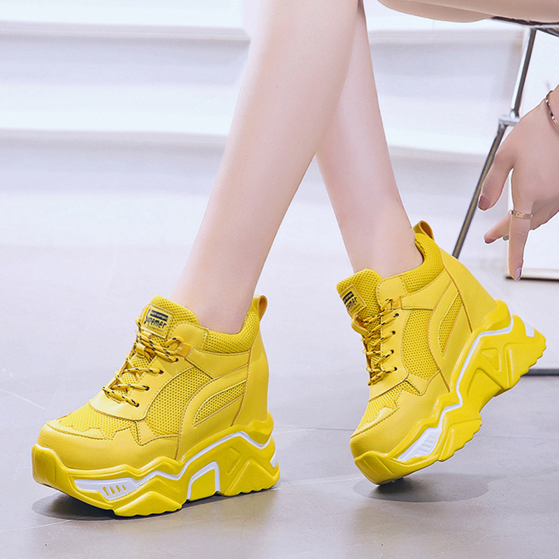 Hidden Heels Wedge Platform Sneakers Women Casual Lace Up Thick Bottom Walking Shoes Woman Non Slip Yellow Sneakers Mujer