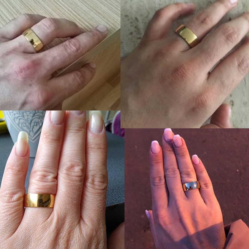 Spark 316L ไทเทเนียมปรับแต่งแกะสลักคนรักคู่แหวนผู้หญิงผู้ชาย 8mm เหล็กทองที่กำหนดเองเครื่องประดับ