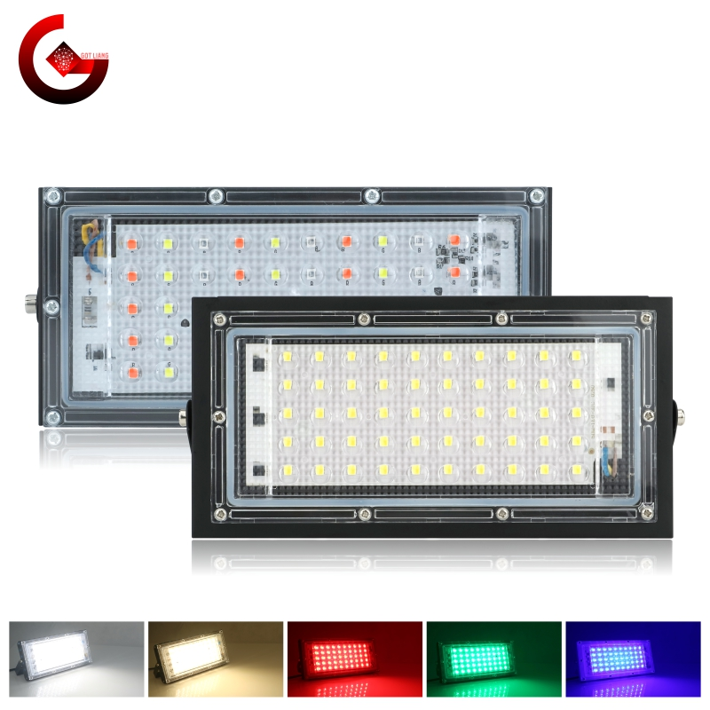 Led Flood Light 50W 220V Outdoor Floodlight IP65 Waterproof LED Street Lamp Cold/Warm White Red Green Blue RGB Spotlight