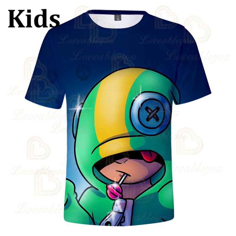 Leon Shooter Kids T-shirt Leon Shooting Game Spike 3D Print Tshirt Tops Boys Girls Brawling Cartoon Star Shirt Tops Teen Clothes