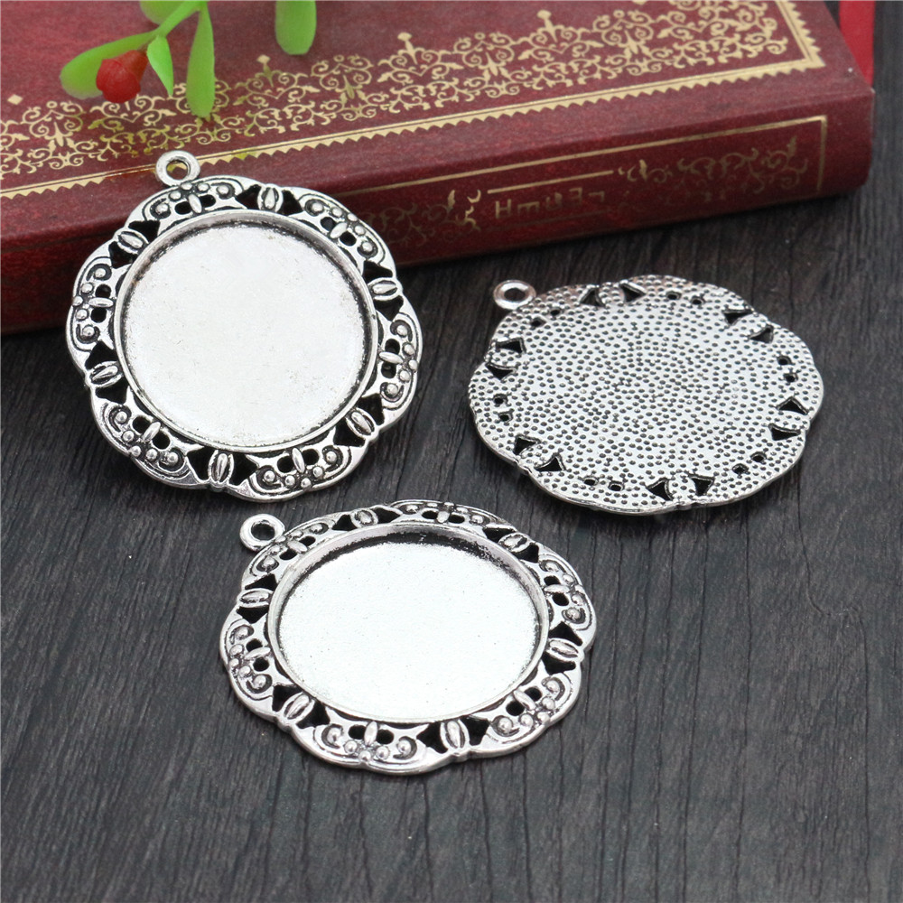 New Fashion  3pcs 25mm Inner Size Antique Silver Plated Baroque Style Cabochon Base Setting Charms Pendant (A3-58)