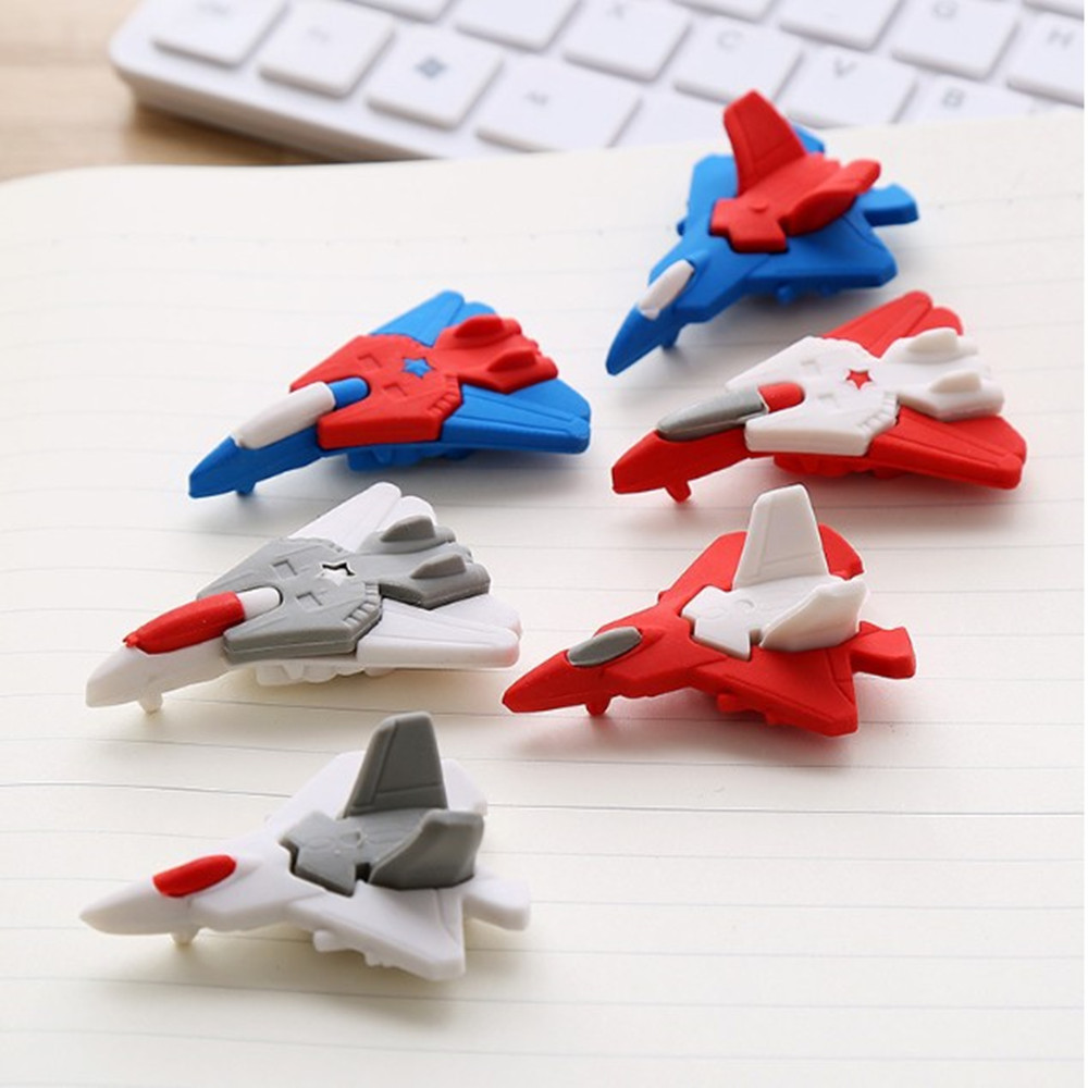 1 Pc Creative Aircraft Rubber Eraser Cartoon Cute Toy Animal Rubber Primary School Gift Wholesale Stationery Supplies For Kids