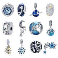 BISAER Real 925 Sterling Silver Travel World Charms Planet Star Moon Tassel Beads Fit Charms Bracelets Silver 925 Jewelry ECC183