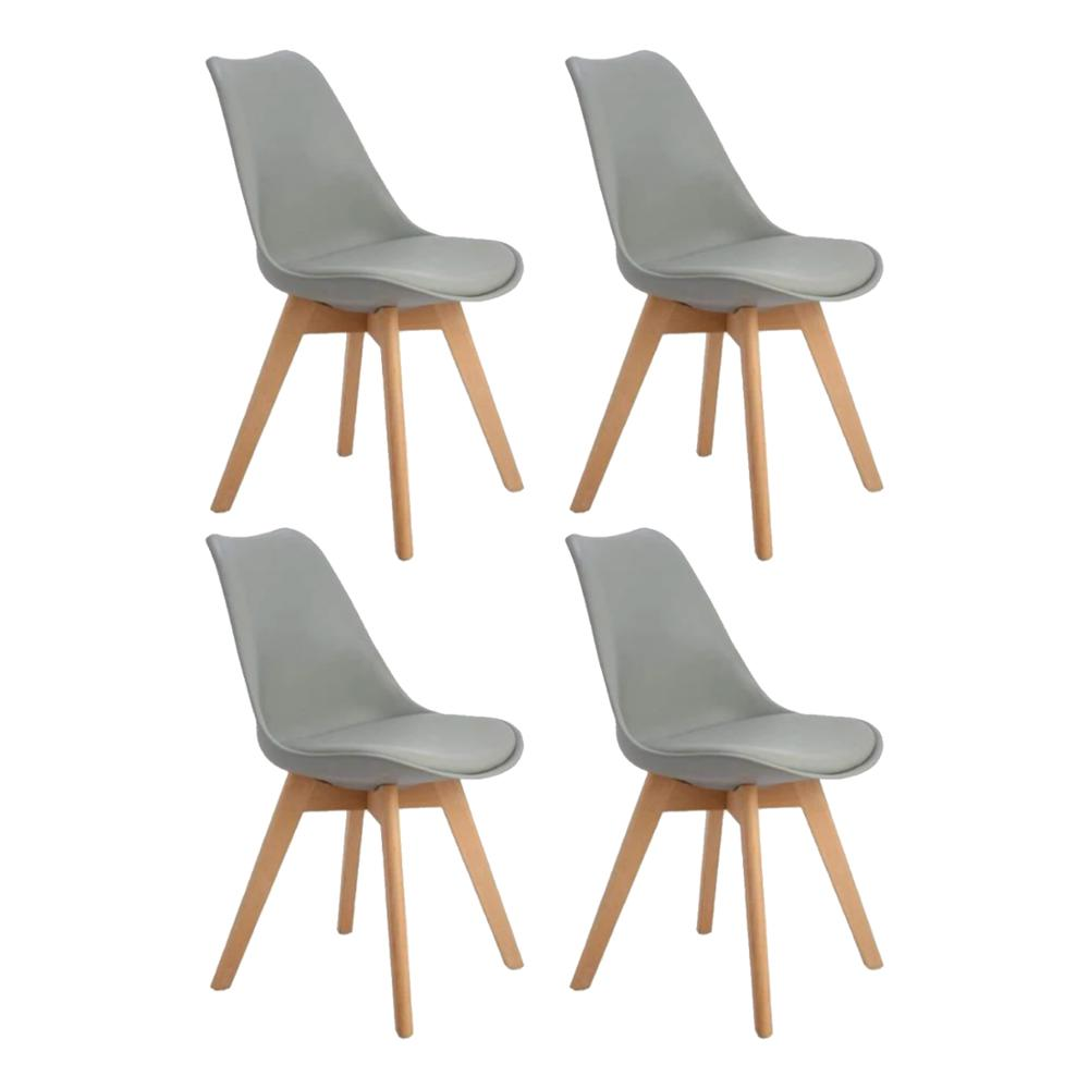 EGGREE Set Of 4pcs Tulip Padded Dining Chair With Beech Wood Legs For Dining Room And Bedroom - Grey - 2-8days EU Warehouse