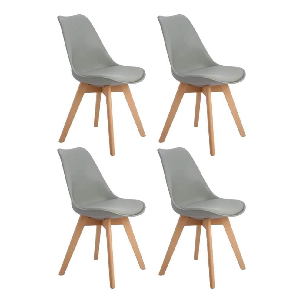 Eggree conjunto de 4 pçs tulipa acolchoada cadeira de jantar com pés de madeira de faia para sala de jantar e quarto-cinza-2-8days armazém da ue