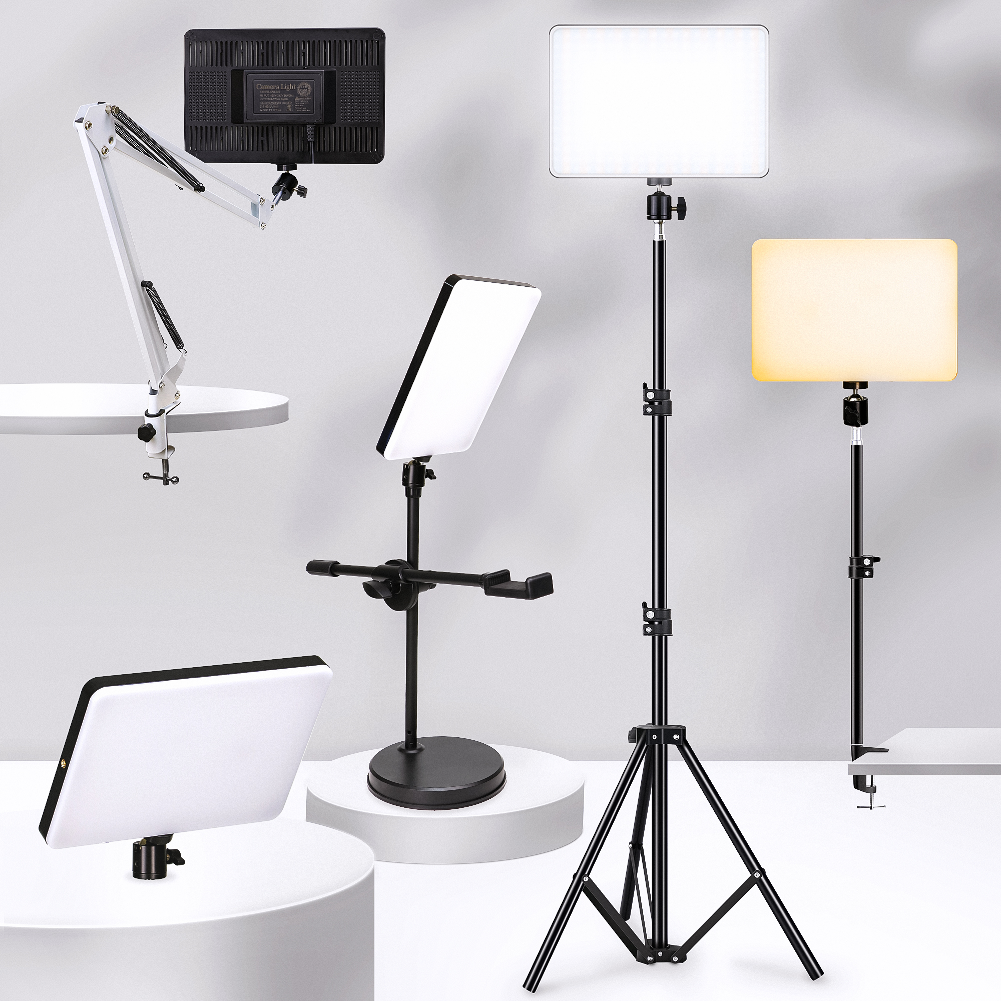Dimmable LED Video Light Panel EU Plug 2700k 5700k Photography Lighting For Live Stream Photo Studio Dimmable LED Video Light Panel EU Plug 2700k-5700k Photography Lighting For Live Stream Photo Studio Fill Lamp Three Color